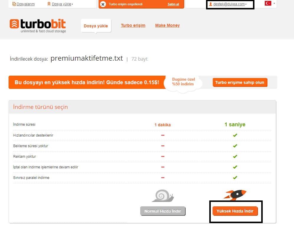 Turbobit Premium Aktivasyon